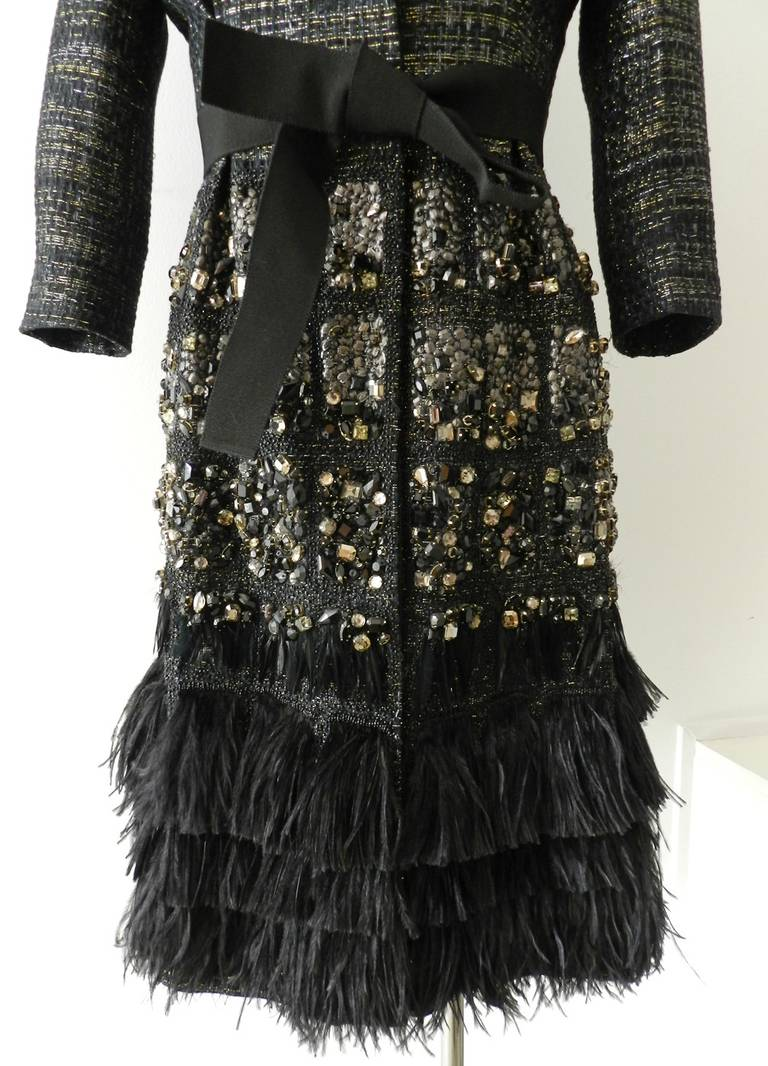 Giambattista Vali Haute Couture Crystal Beaded Feather Trim Jacket 6