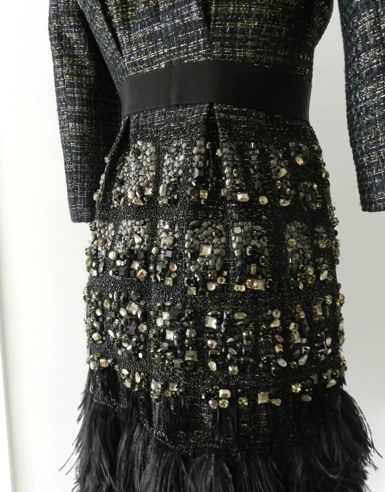 Giambattista Vali Haute Couture Crystal Beaded Feather Trim Jacket 7