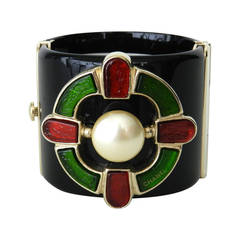 Chanel 07A Monte Carlo collection Gripox and Lucite Wide Cuff Bracelet