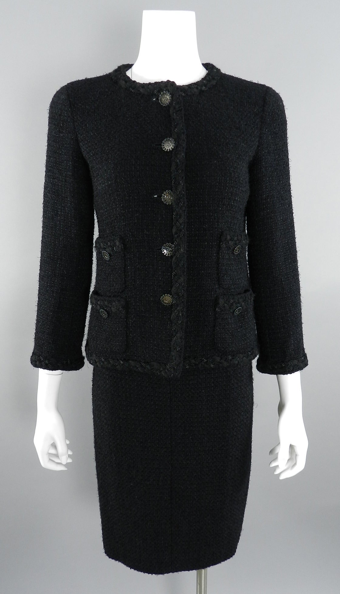 40ca68934b0 Chanel Black Tweed Wool Classic Skirt Suit at 1stdibs