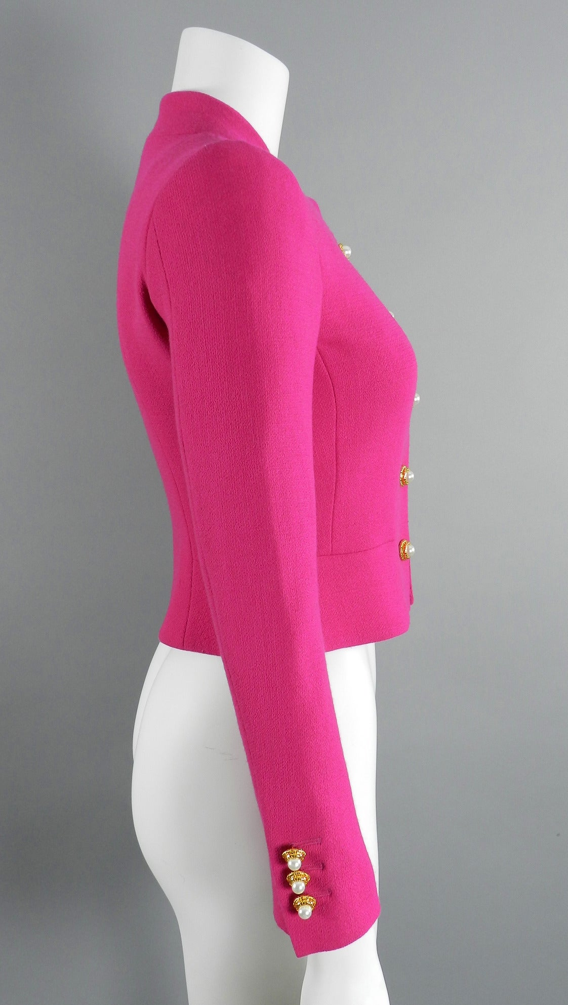 Moschino Hot Fuchsia Pink Jacket with Gold and Pearl Toggles 2