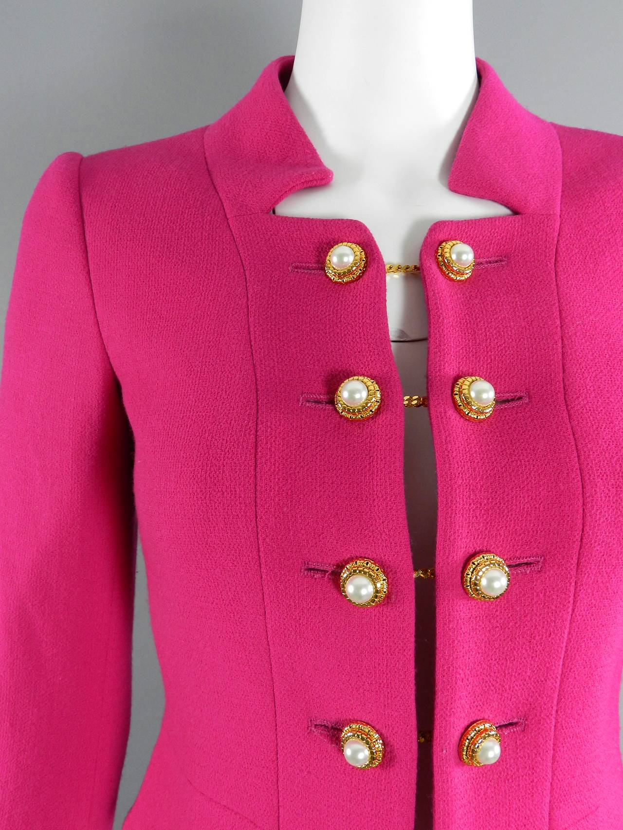 Moschino Hot Fuchsia Pink Jacket with Gold and Pearl Toggles 4