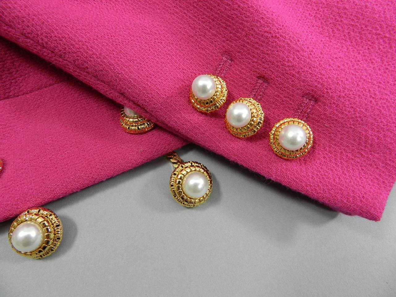 Moschino Hot Fuchsia Pink Jacket with Gold and Pearl Toggles 5