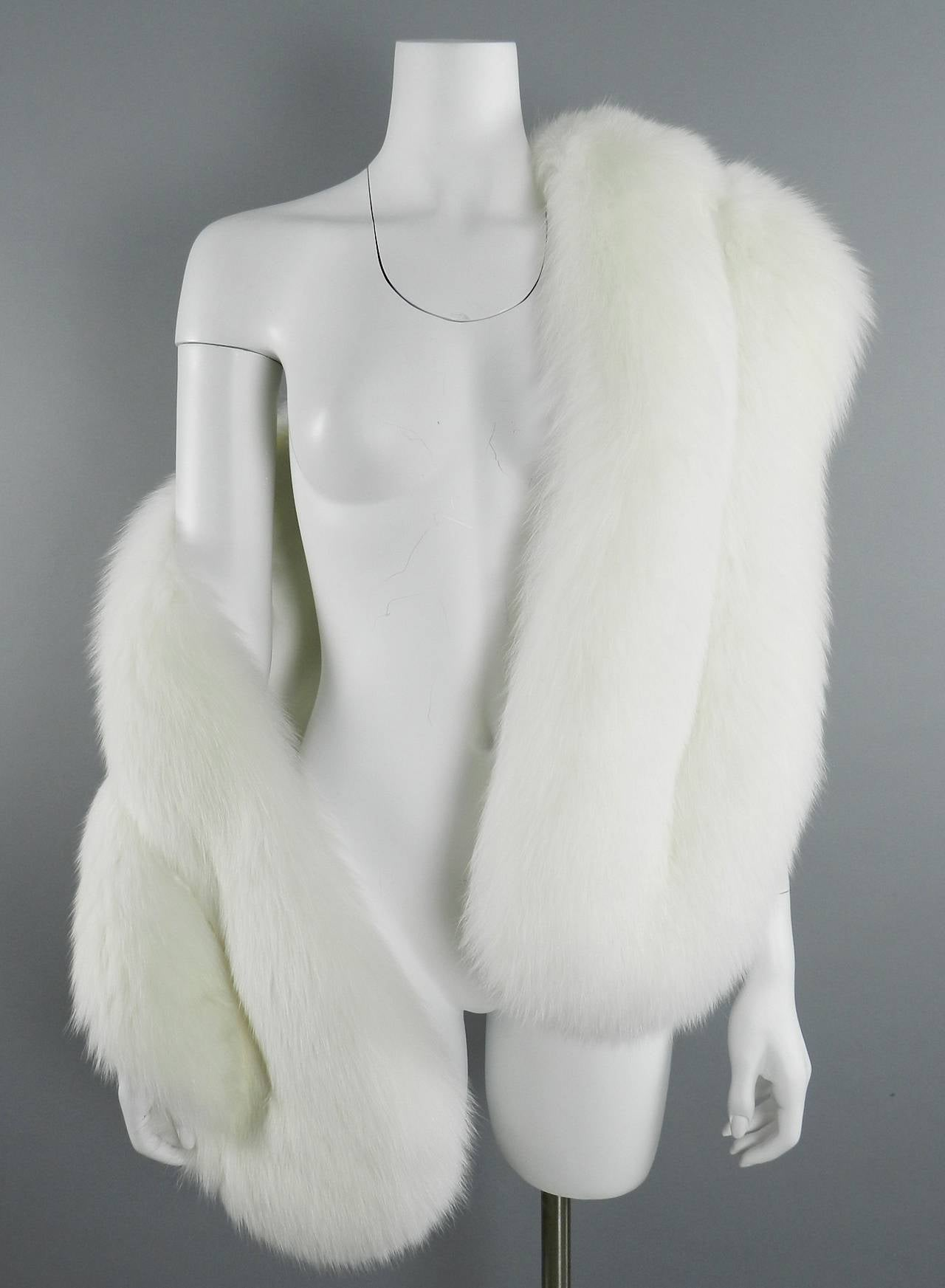 White Fur Stole >> Prada White Fox Fur Stole Scarf At 1stdibs
