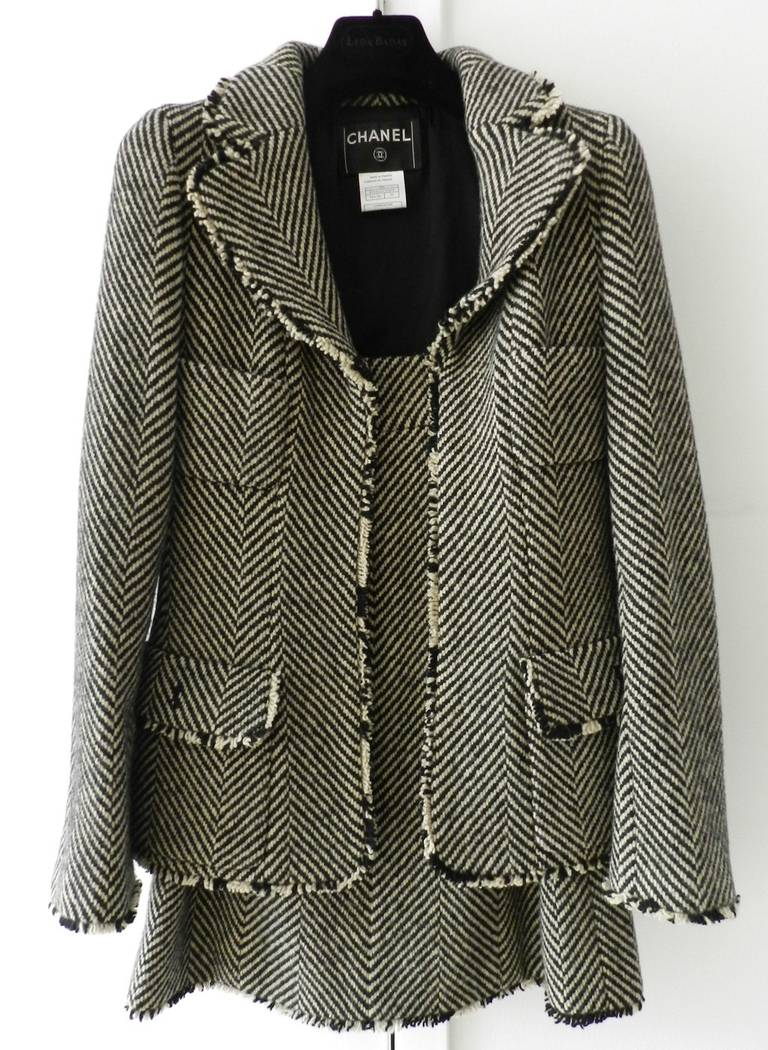 Chanel 06a herringbone skirt suit at 1stdibs
