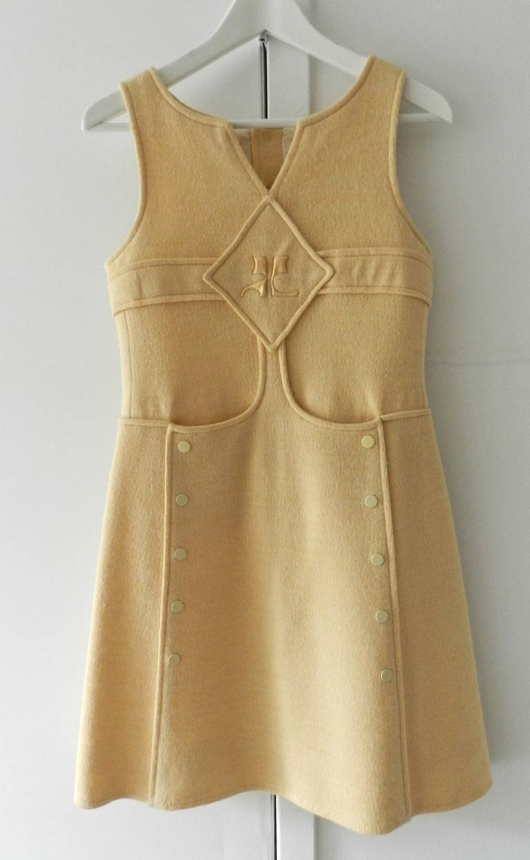 Vintage 1960 S Courreges Wool Knit Mod Dress Pale Peachy Beige With Enamel Snaps And Plastic