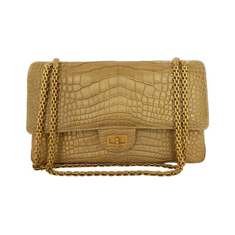b7315797b683 Chanel Matte Gold Crocodile Alligator 2.55 reissue flap bag at 1stdibs