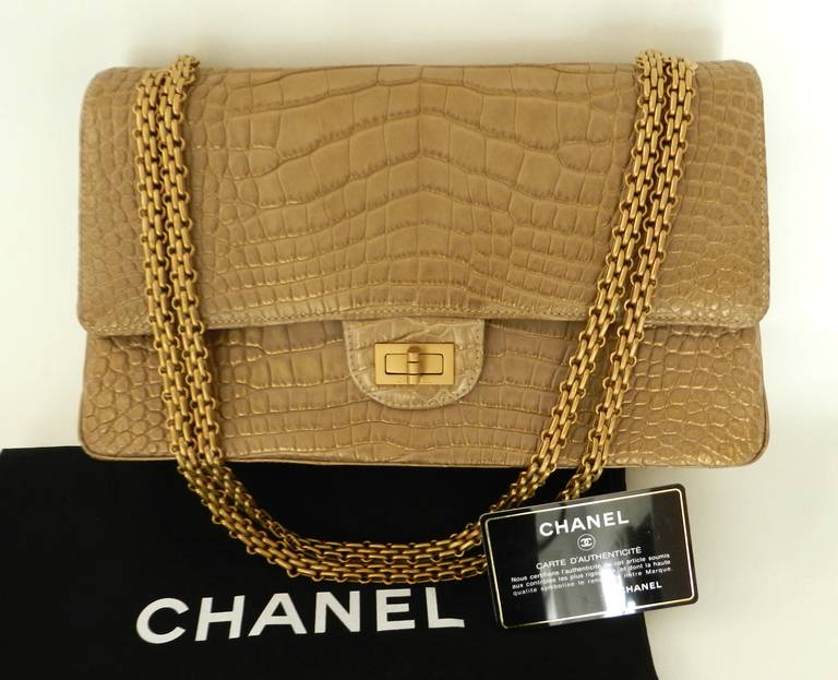 c14203f21b88 Chanel Matte Gold Crocodile Alligator 2.55 reissue flap bag In Excellent  Condition For Sale In Toronto