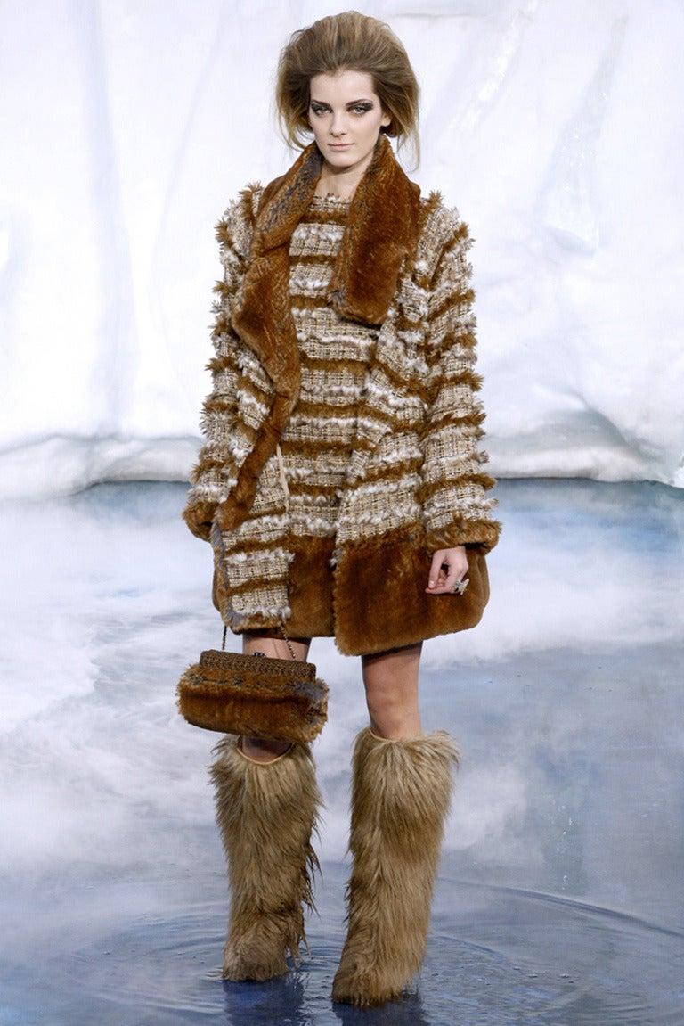 Chanel 10a Brown Faux Fur Runway Dress And Coat Set At 1stdibs