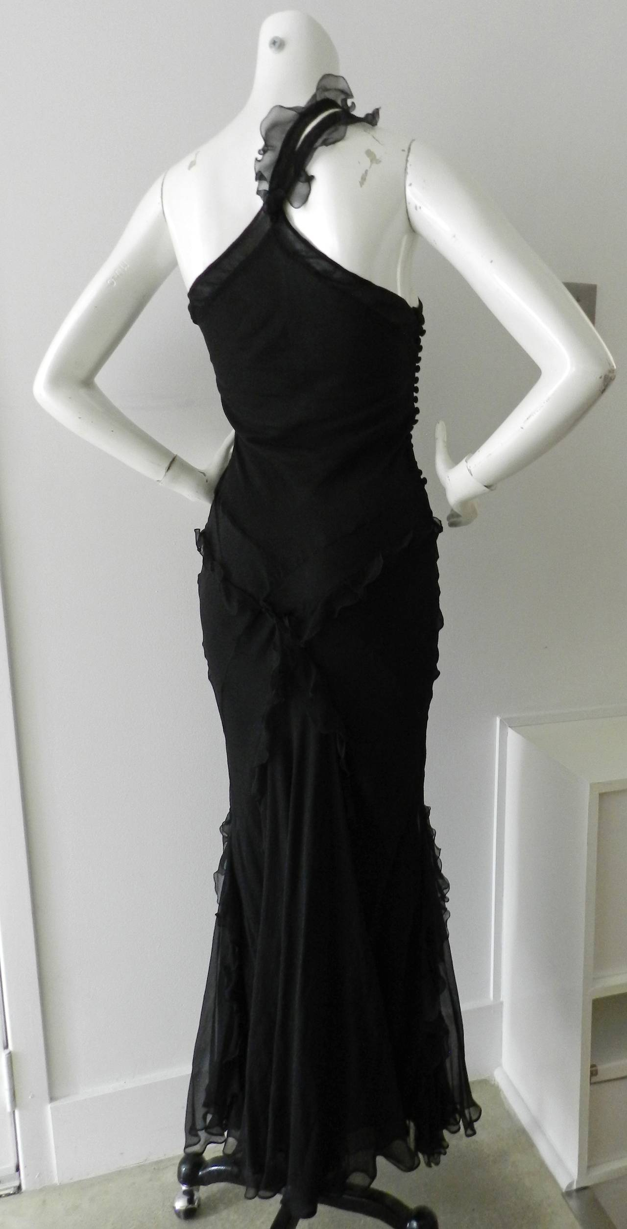 Galliano for Christian Dior Black 1930\'s Style Bias Gown at 1stdibs