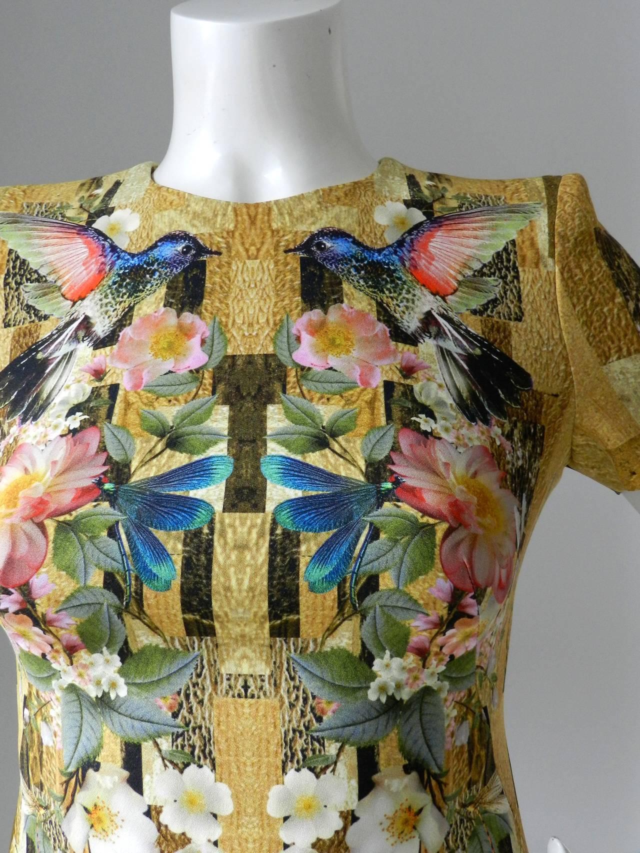 Alexander Mcqueen Hummingbird Digital Print Dress At 1stdibs