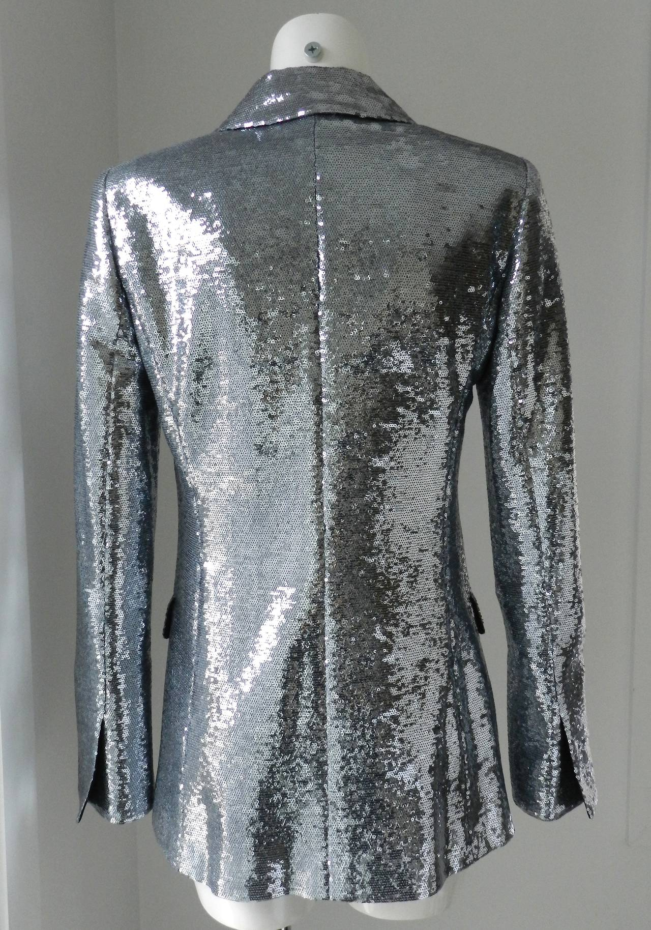 Chanel 09C Silver Sequin Jacket In Excellent Condition For Sale In Toronto, CA
