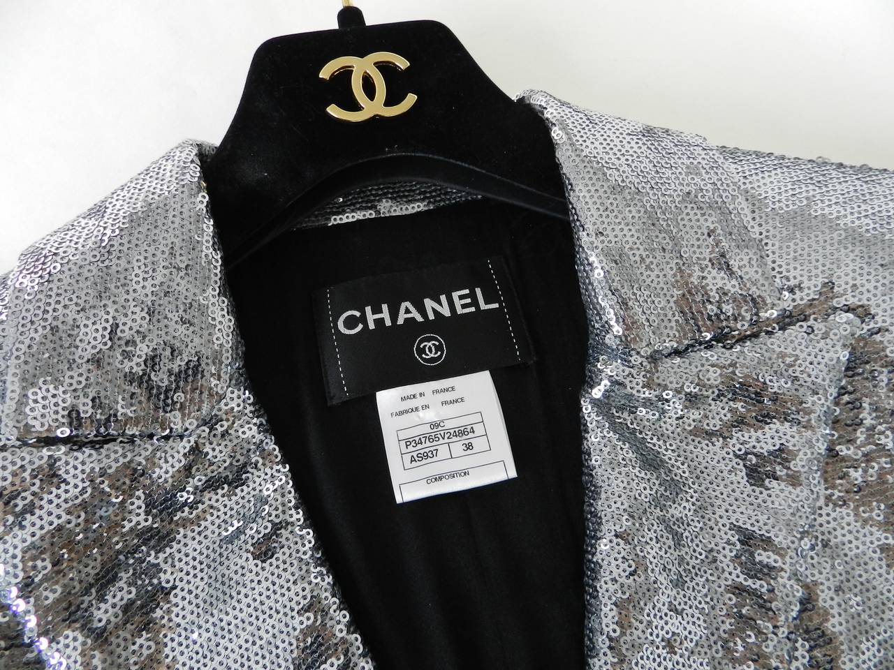 Women's Chanel 09C Silver Sequin Jacket For Sale