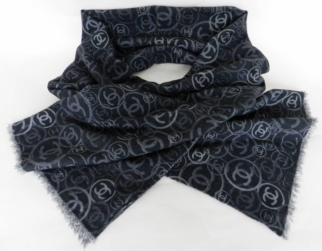 chanel grey cc logo scarf at 1stdibs
