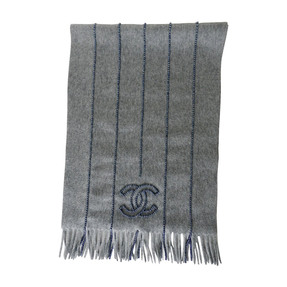 chanel dove grey scarf with beaded detail at 1stdibs