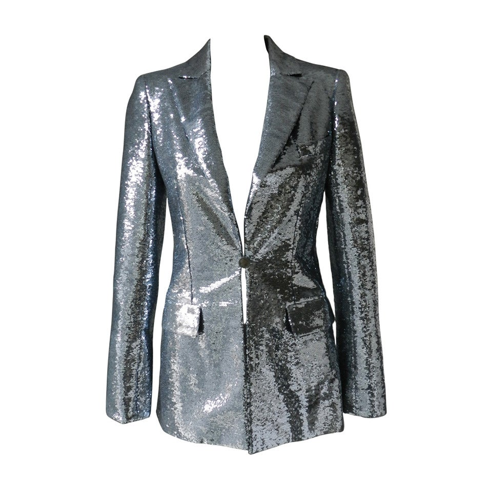 Chanel 09C Silver Sequin Jacket For Sale