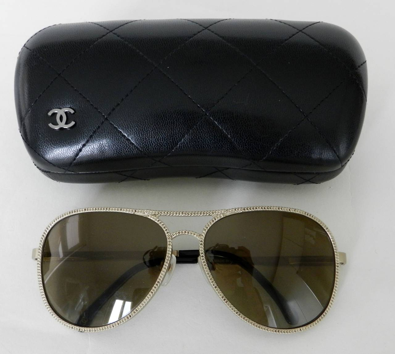 b2fbb0eb744 Chanel 2011 Resort runway collection sunglasses. Matte champagne goldtone  with brown lens. Lens has