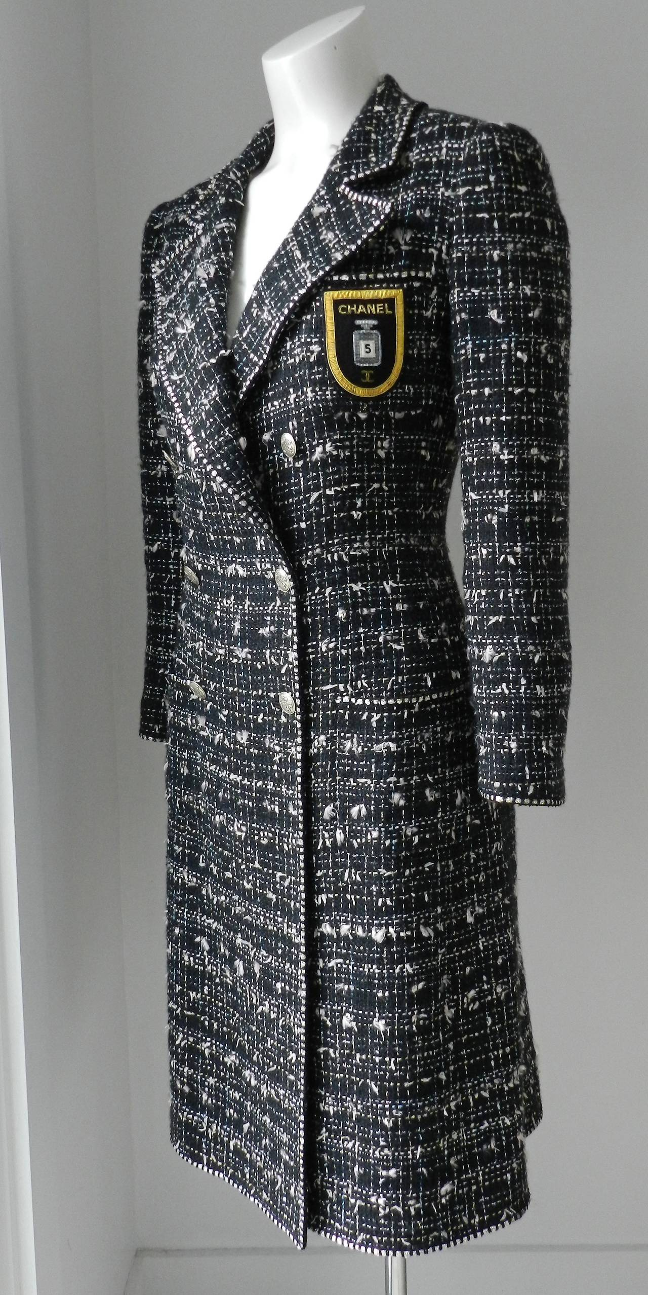 3b89f6a161b Chanel 2005 resort collection long tweed jacket. Body is black with light  pink