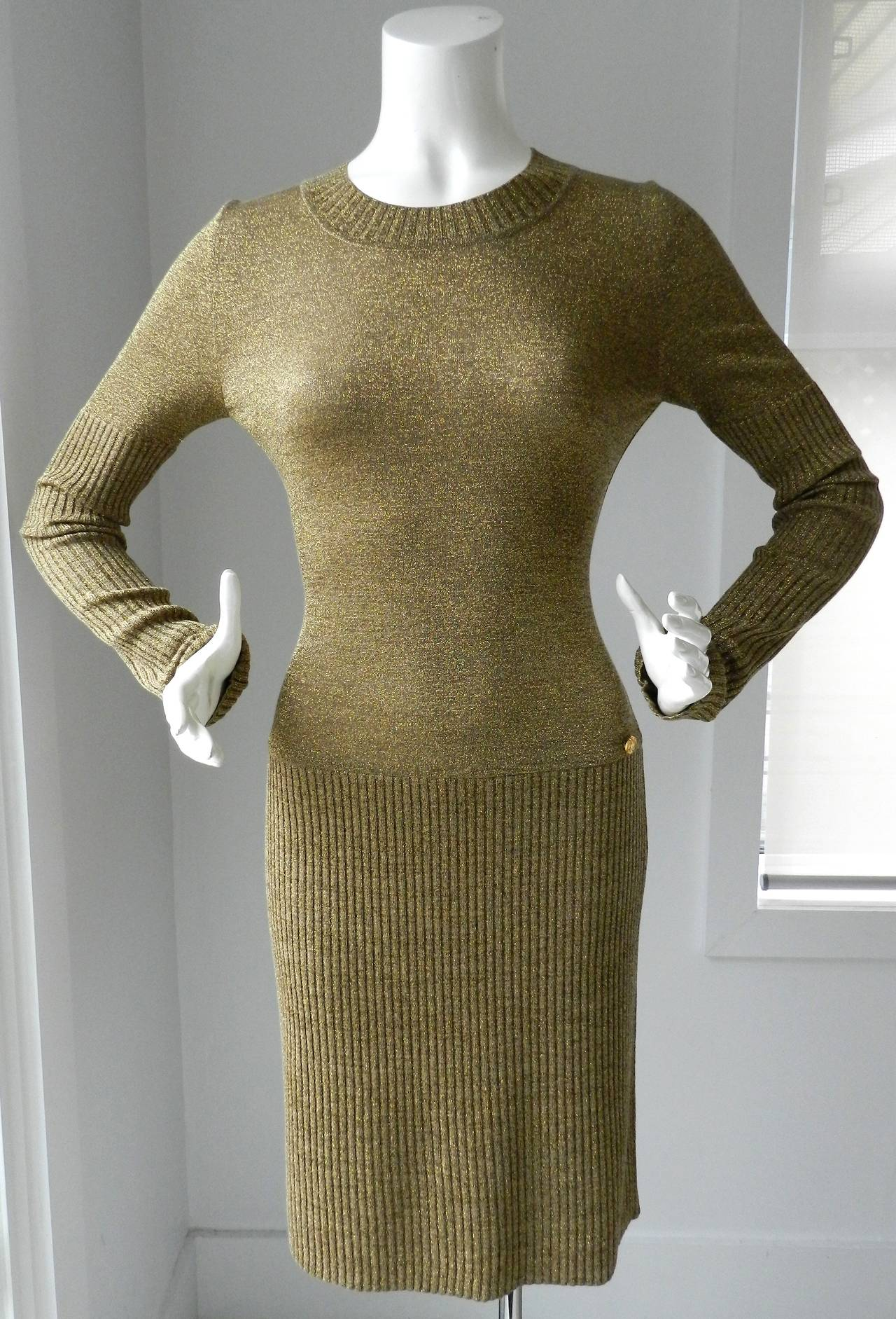 Chanel 09a Russian Collection Gold Knit Dress At 1stdibs