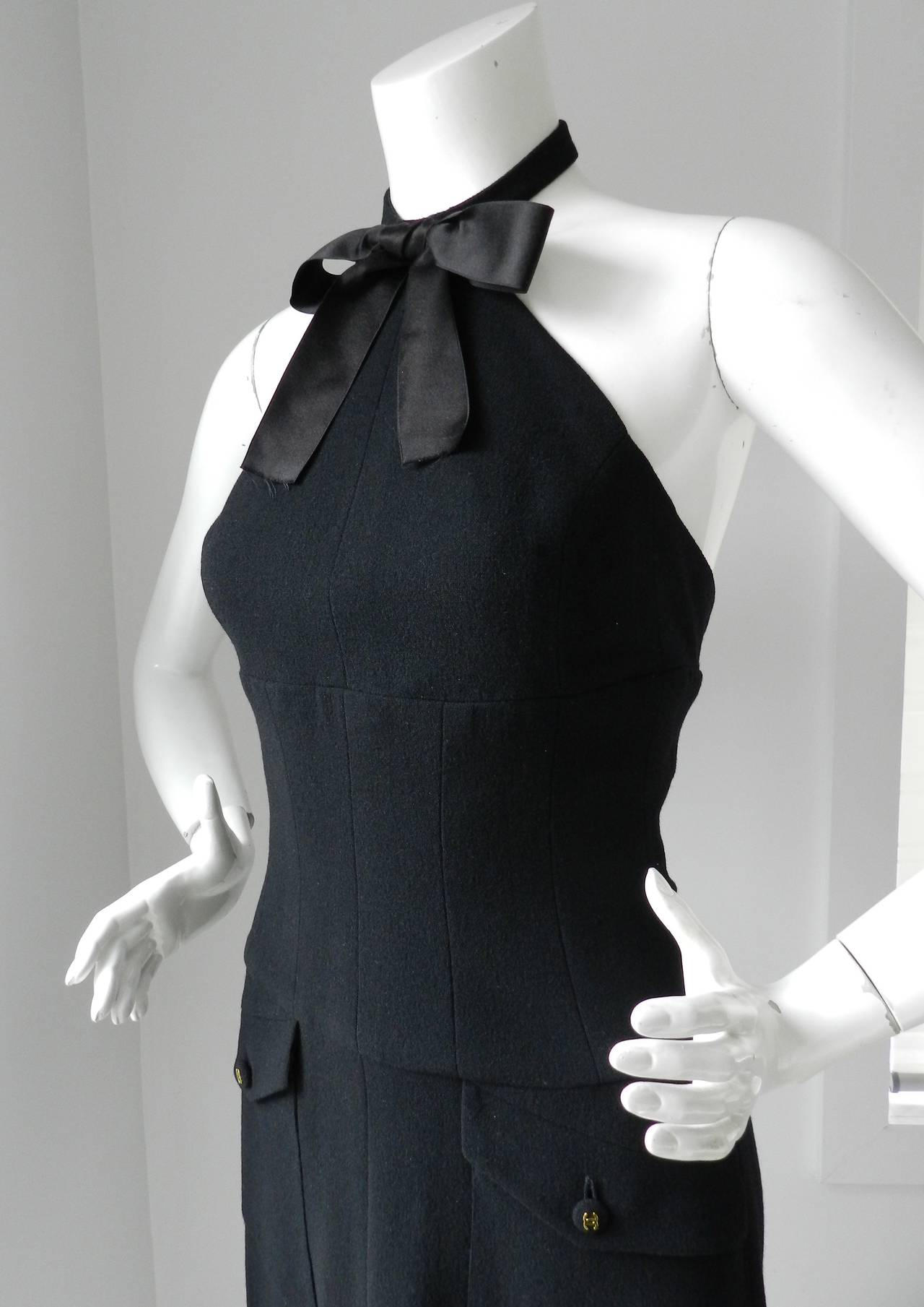 Vintage 1995 Chanel Classic Lagerfeld Black Halter Dress