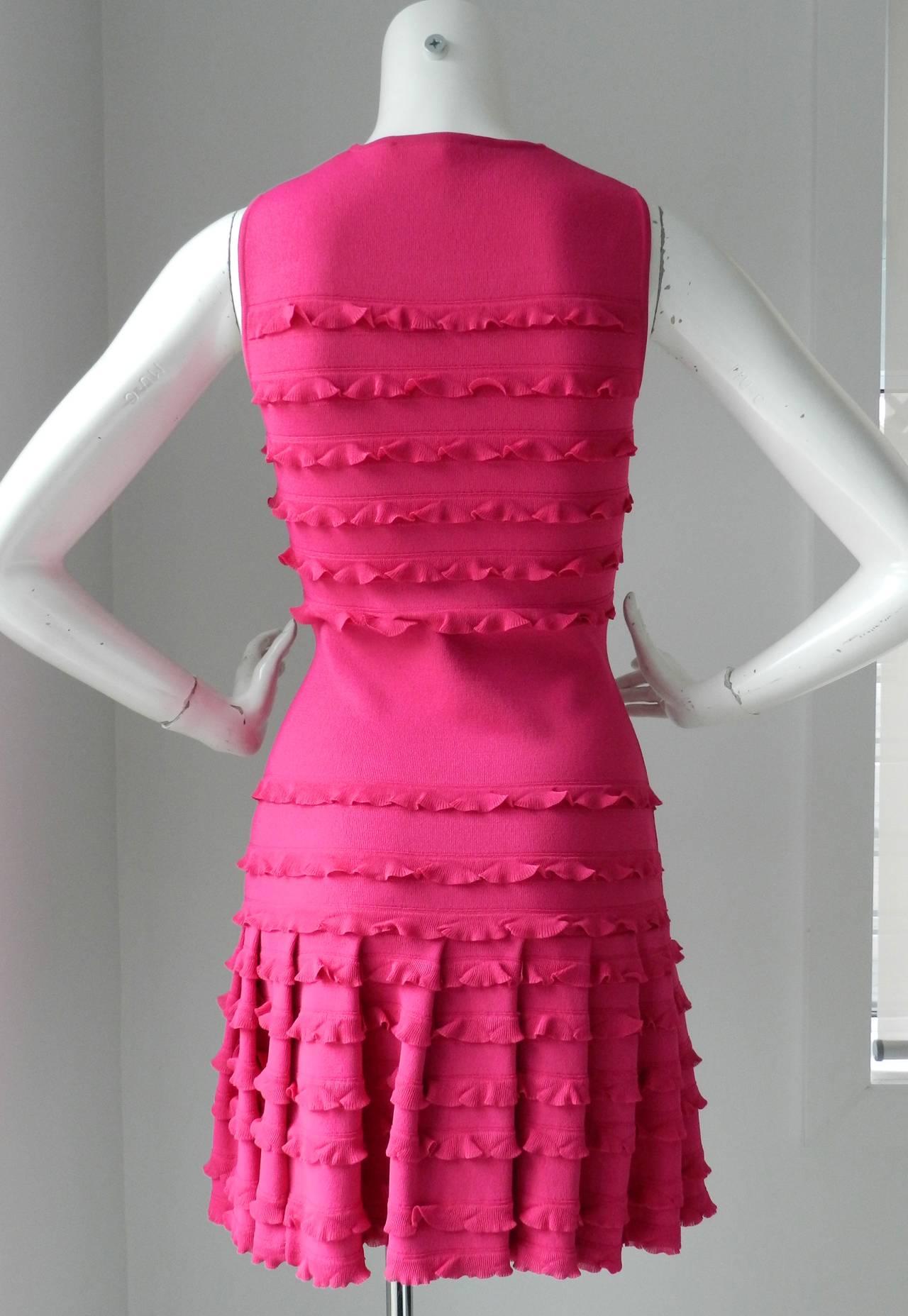 Christian Dior Galliano Hot Fuchsia Jersey Dress 3