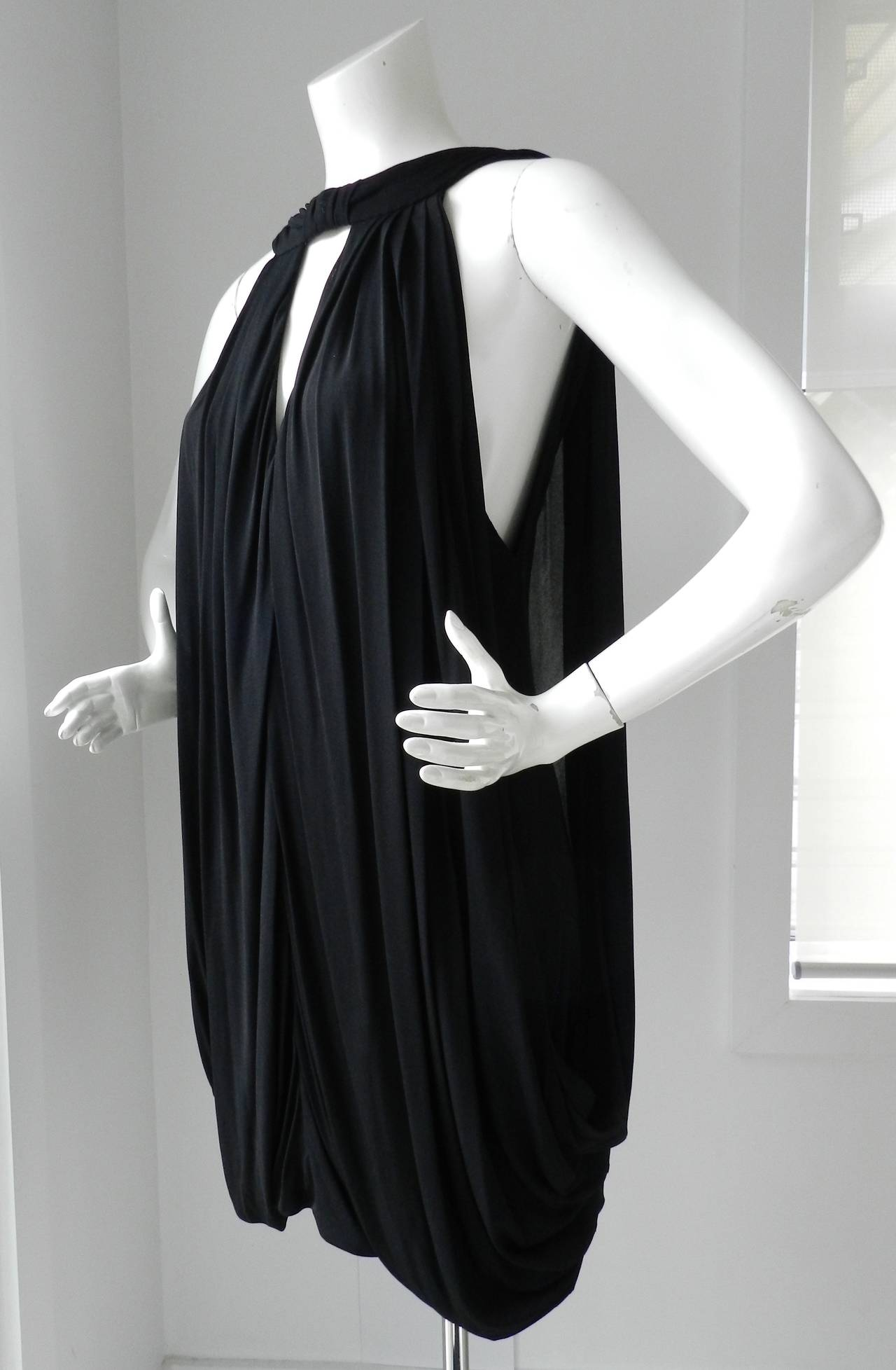 Gucci Black Jersey Draped Dress 2