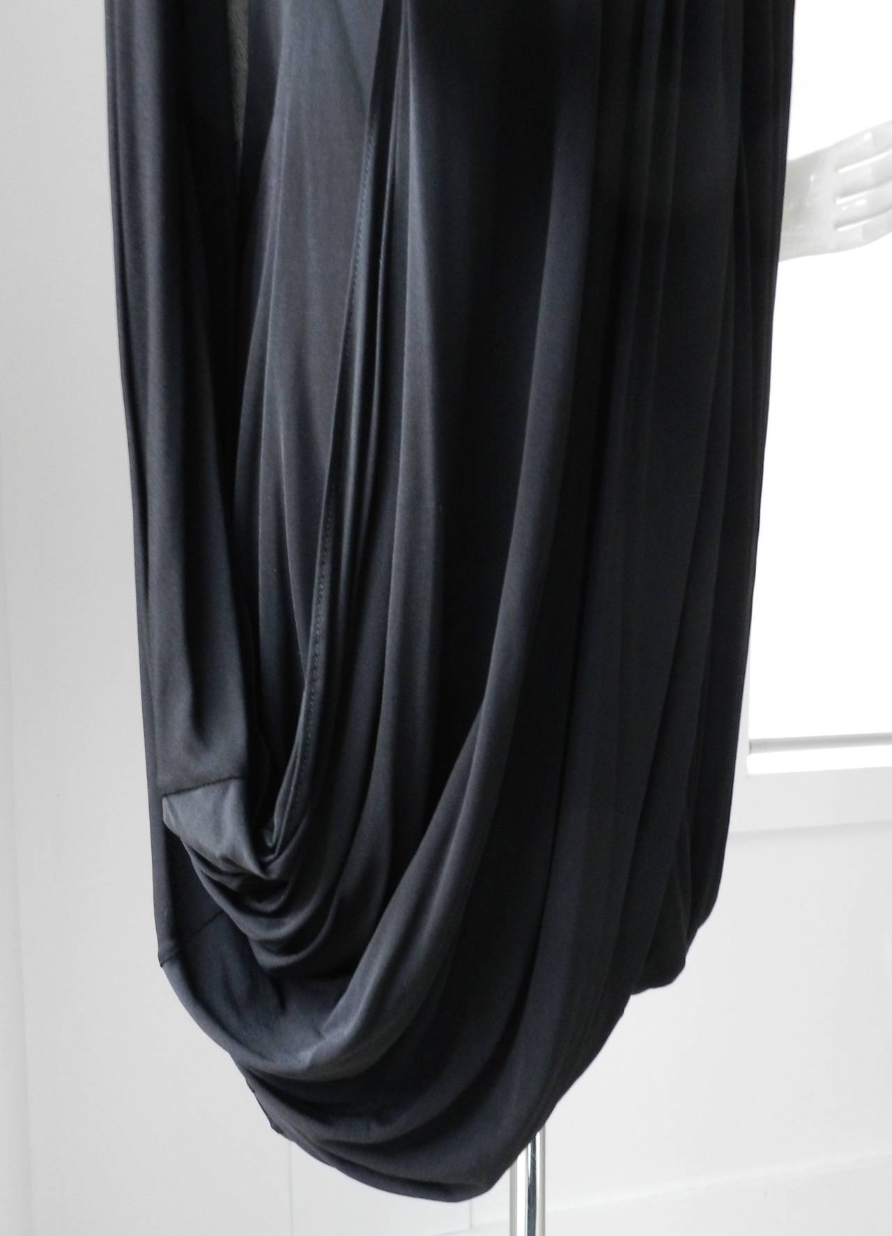 Gucci Black Jersey Draped Dress 4