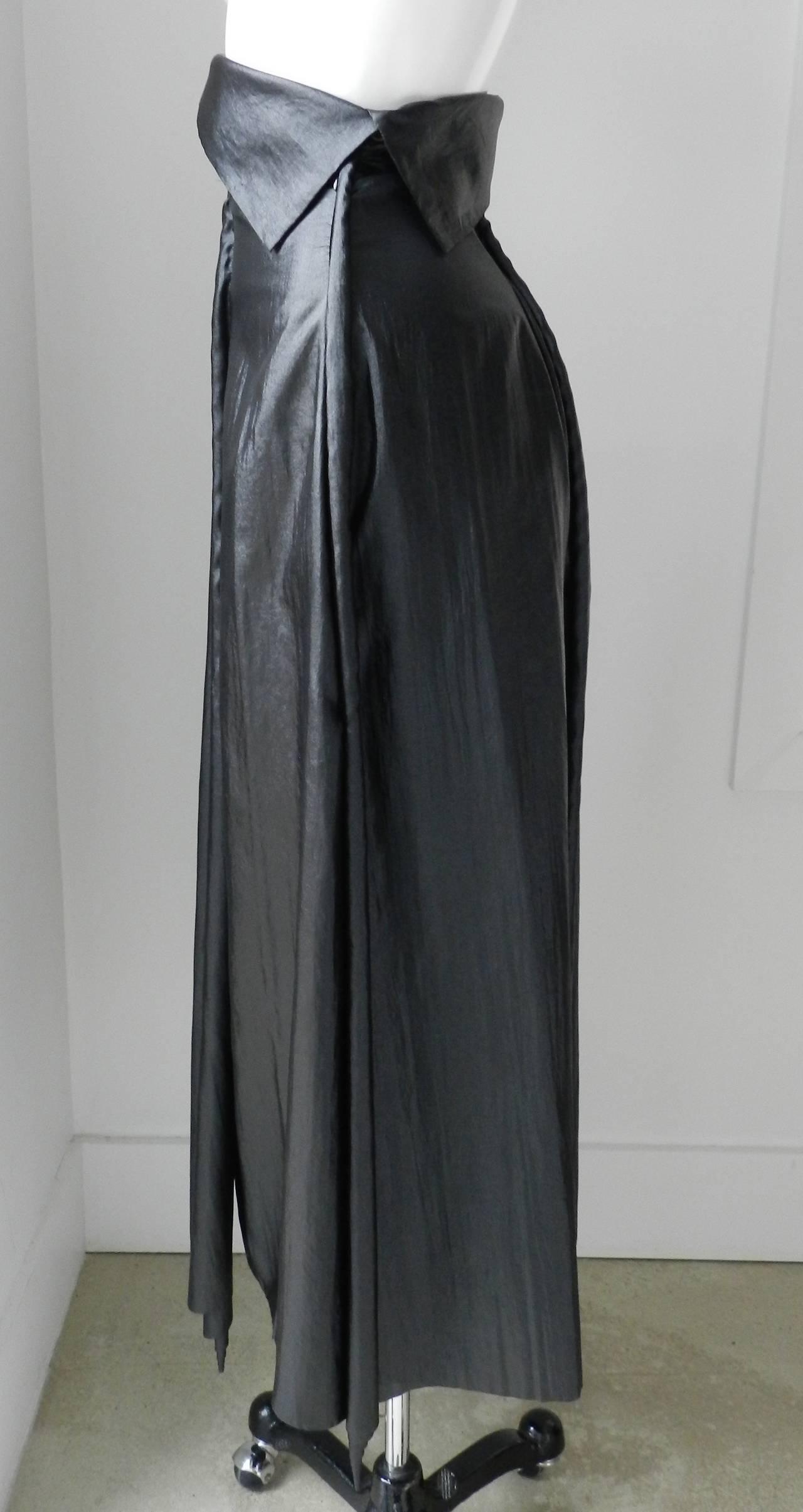 Issey Miyake Long Black Shiny Skirt 2