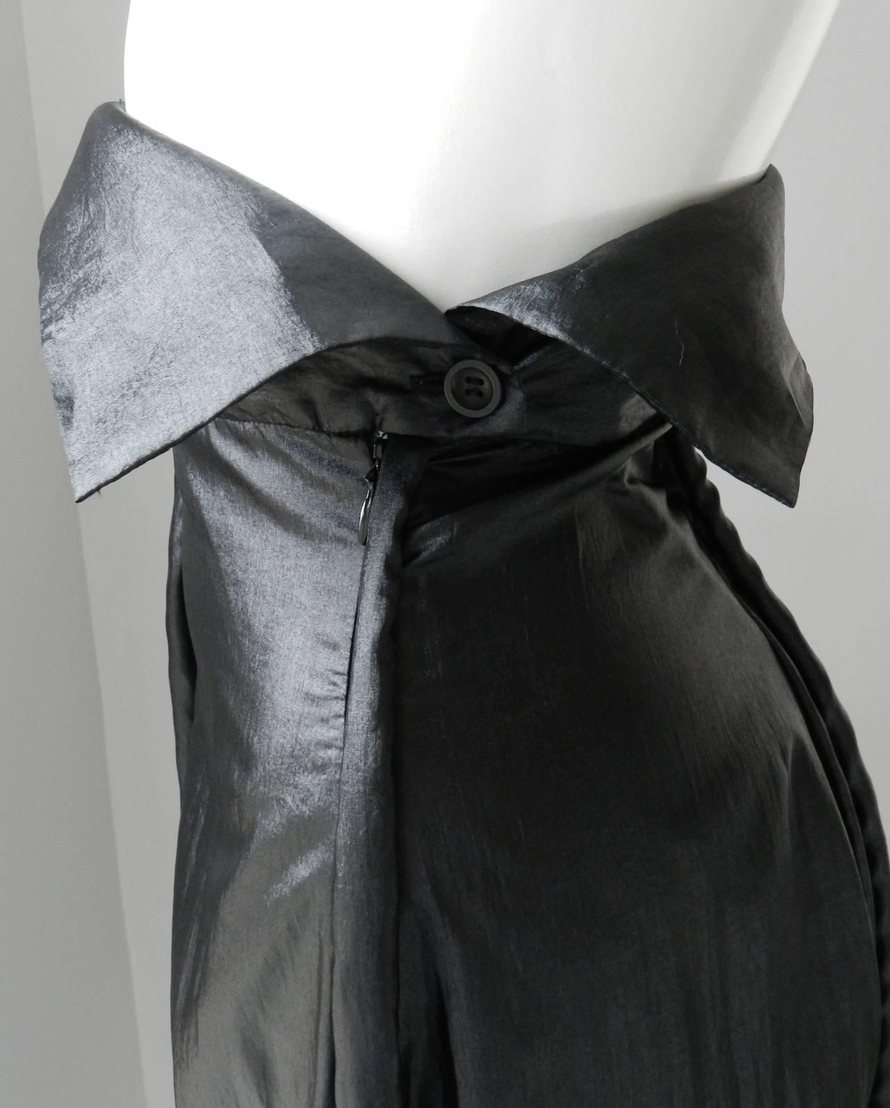 Issey Miyake Long Black Shiny Skirt 4