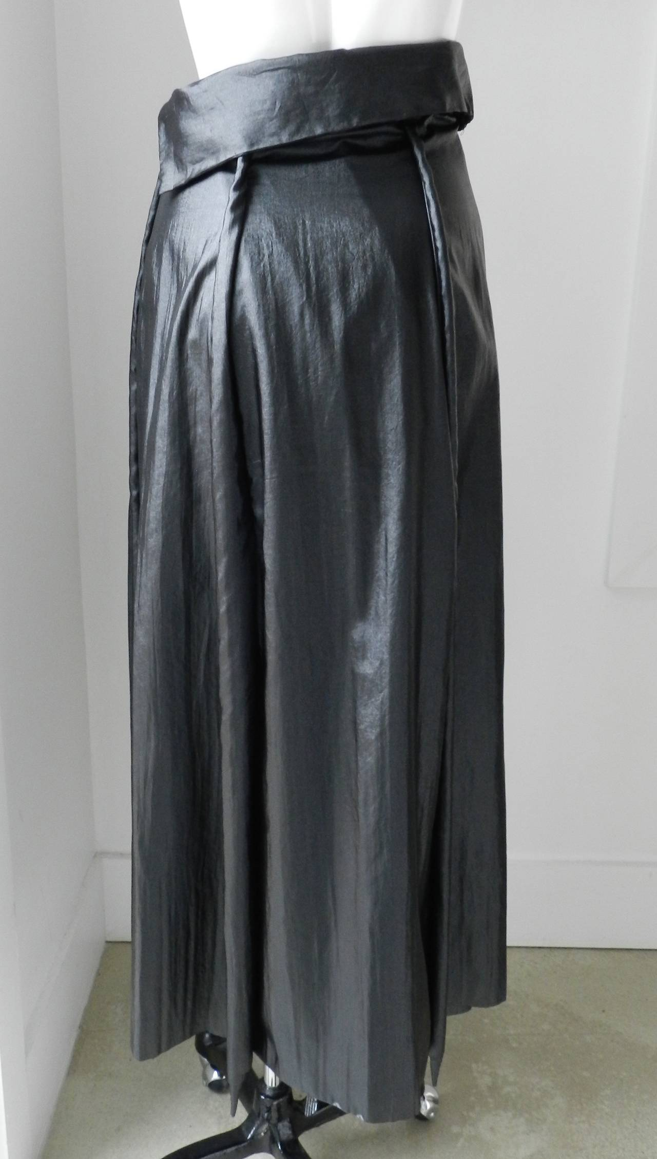 Issey Miyake Long Black Shiny Skirt 5