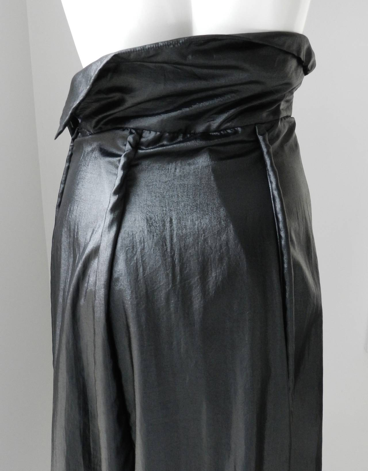 Issey Miyake Long Black Shiny Skirt 6