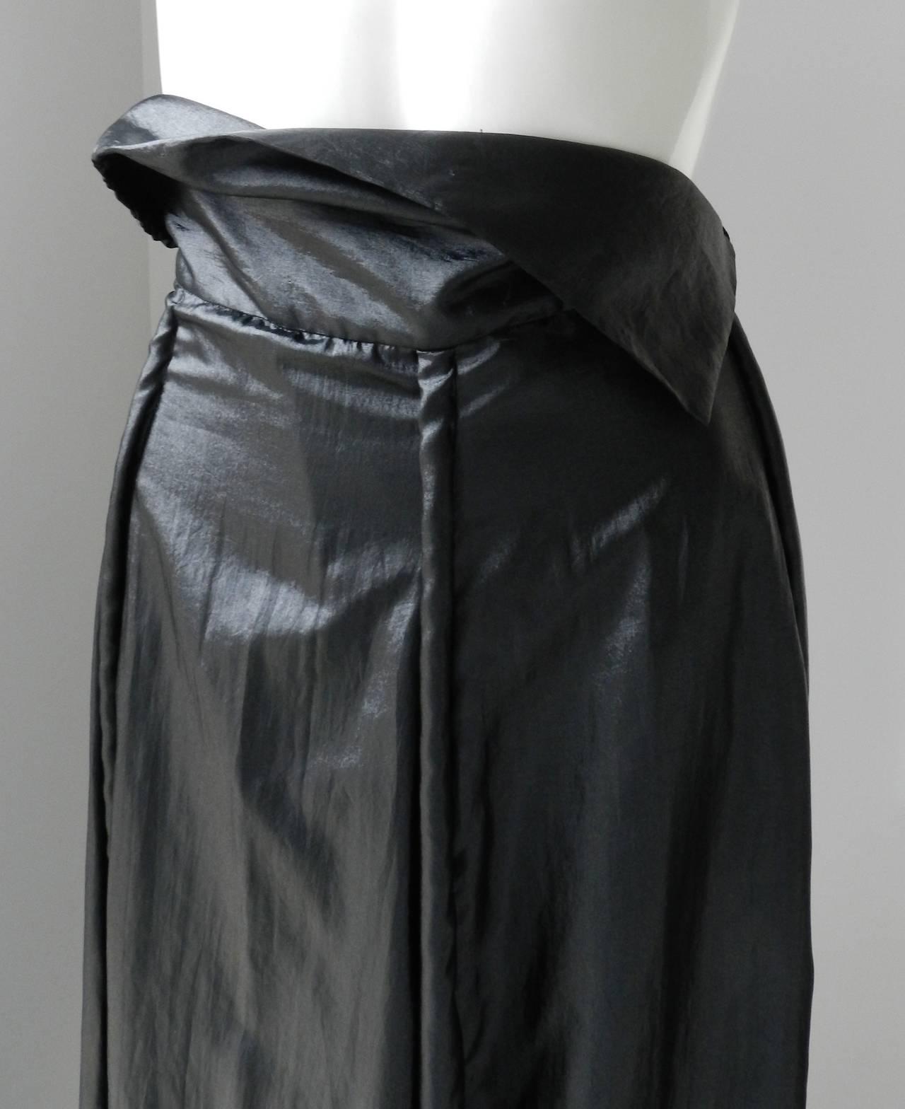 Issey Miyake Long Black Shiny Skirt 7
