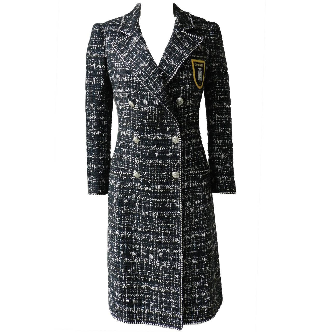 Chanel 05c Long Tweed Jacket Coat With Emblem At 1stdibs