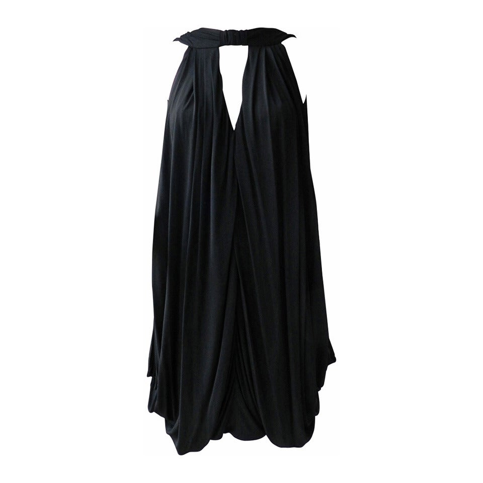 Gucci Black Jersey Draped Dress 1