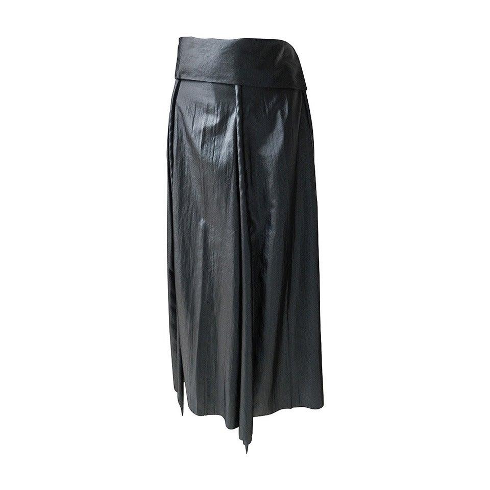 Issey Miyake Long Black Shiny Skirt