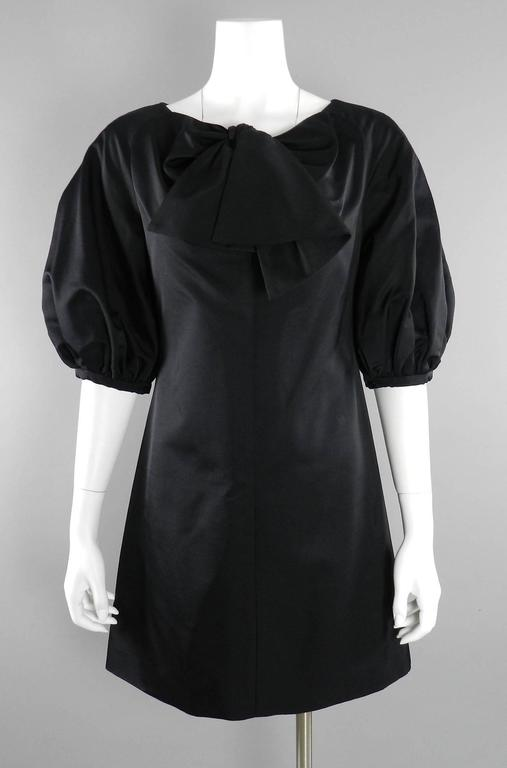 Giambattista Valli Black Satin Cocktail Dress with Bow 7