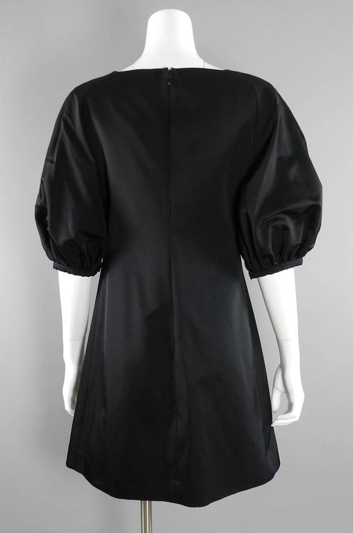 Giambattista Valli Black Satin Cocktail Dress with Bow 3