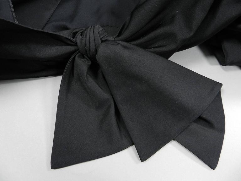 Giambattista Valli Black Satin Cocktail Dress with Bow 4
