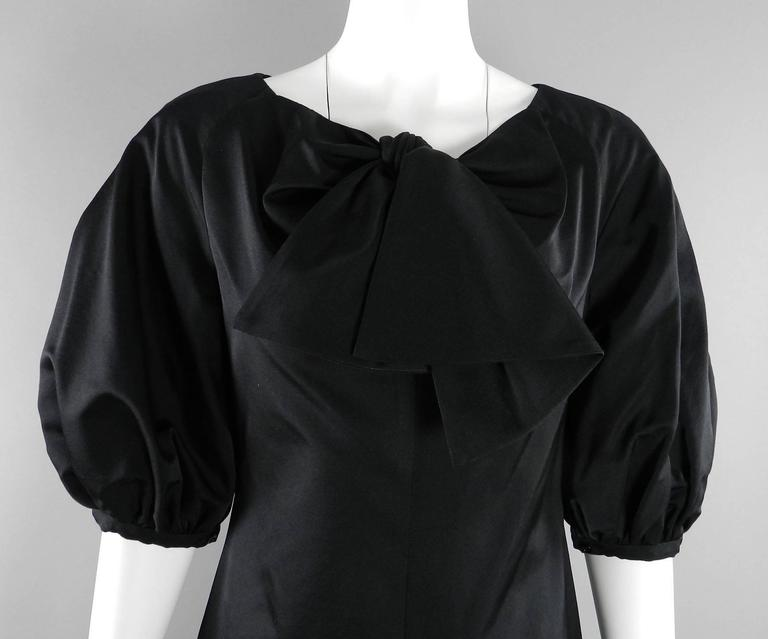 Giambattista Valli Black Satin Cocktail Dress with Bow 6