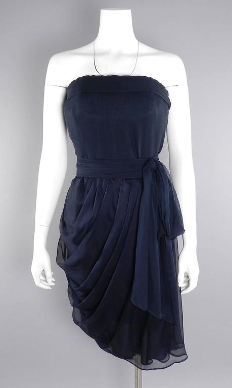 Black YSL Yves Saint Laurent Haute Couture Numbered Vintage 1980's Silk Chiffon Dress For Sale