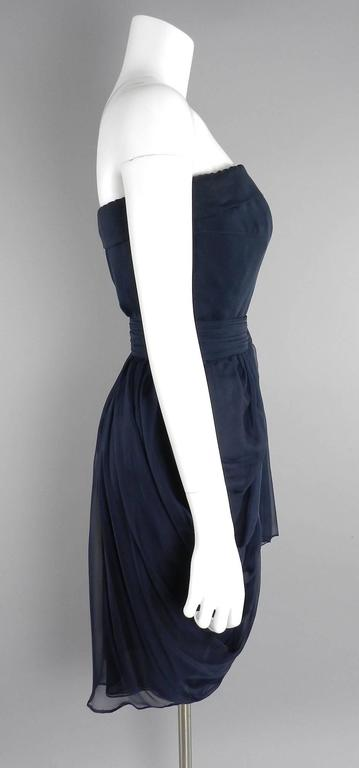 YSL Yves Saint Laurent Haute Couture Numbered Vintage 1980's Silk Chiffon Dress In Excellent Condition For Sale In Toronto, ON