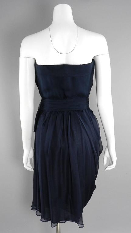 Women's YSL Yves Saint Laurent Haute Couture Numbered Vintage 1980's Silk Chiffon Dress For Sale