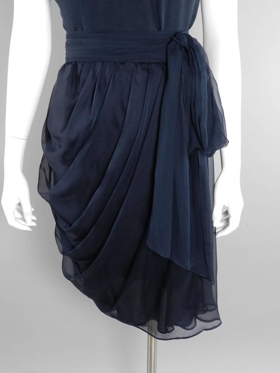 YSL Yves Saint Laurent Haute Couture Numbered Vintage 1980's Silk Chiffon Dress For Sale 1
