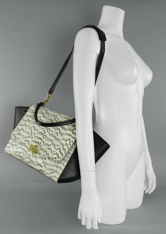 celine python print leather handbag trapeze