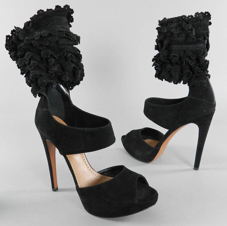 Alaia Black Suede Ruffle Ankle Heels - size 41 7