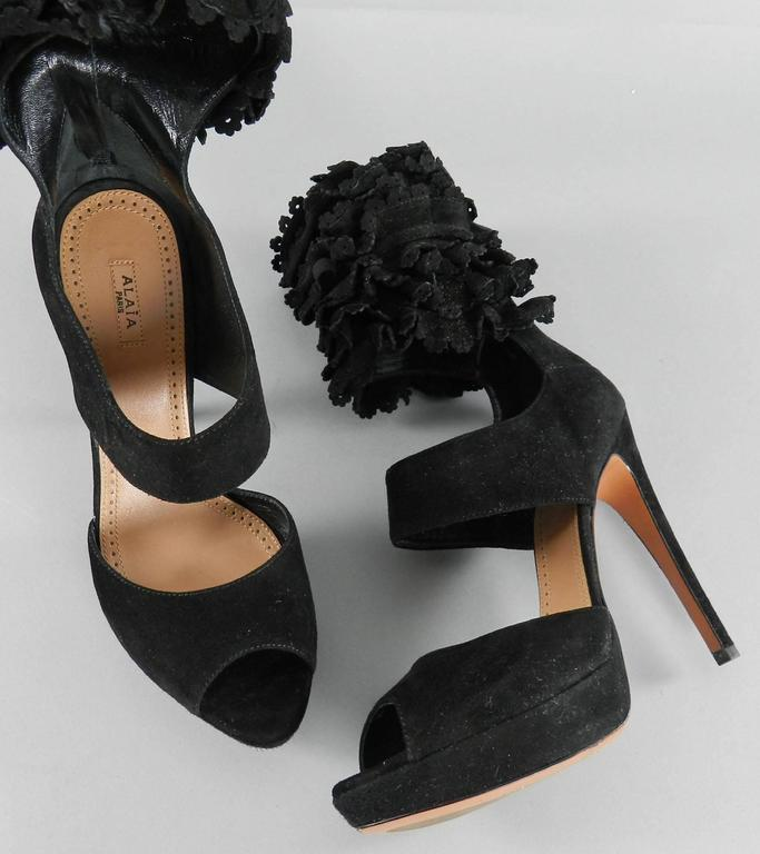 Alaia Black Suede Ruffle Ankle Heels - size 41 2