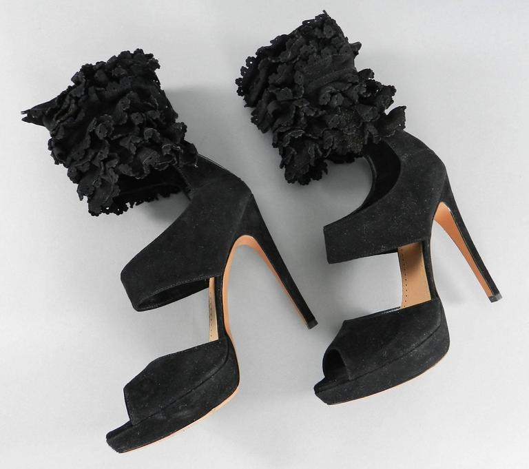 Alaia Black Suede Ruffle Ankle Heels - size 41 3