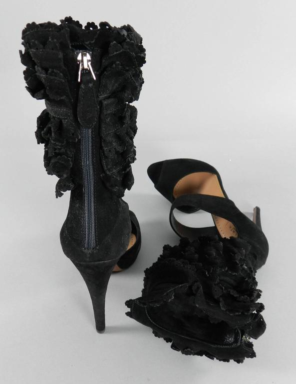 Alaia Black Suede Ruffle Ankle Heels - size 41 4
