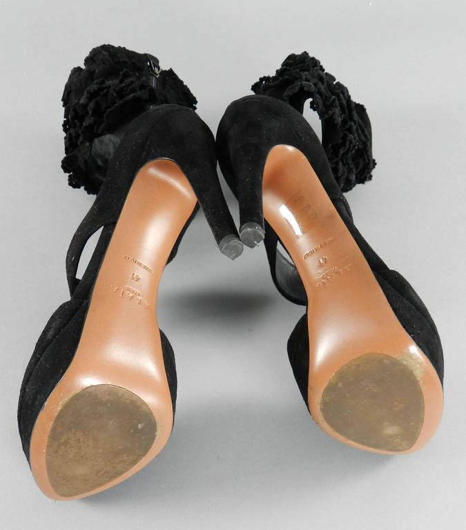 Alaia Black Suede Ruffle Ankle Heels - size 41 5