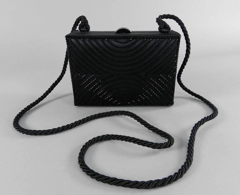 Chanel Vintage 1997 Black Satin Beaded Evening Box Bag 10